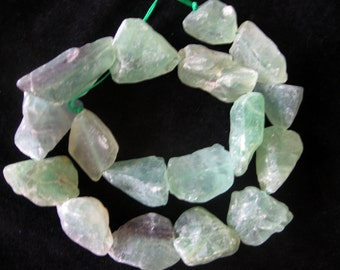 Large Natural Raw Fluorite Frosted Freeform Nugget Beads