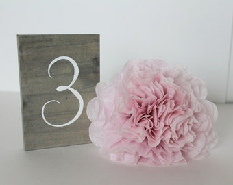 Hand Painted Wood Table Numbers   4x6   Grey Wash Stained Wood