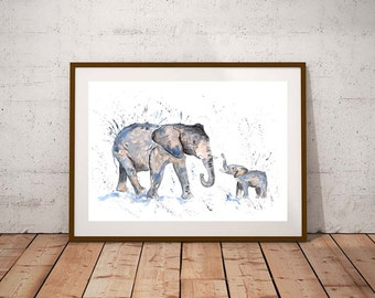 Giclee print, Elephant family PRINT, elephant family, elephant art, watercolour painting, elephant lover gift, watercolour animal print