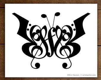 Music / BUTTERFLY music art print - 5x7, 8x10, 11x14 Fine art print / Music wall art / Music gift / Music room decor / Gift for musician