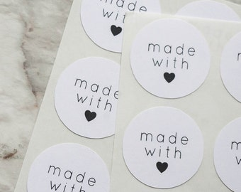 54 Made With Love Stickers, Made With Love Labels, Round Stickers, Wedding Stickers, Gift Wrapping, Handmade Stickers