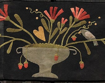 Primitive Wool Applique - Strawberry Thief by Maggie Bonanomi - Choose Pattern Only or Pattern w/Wool Kit