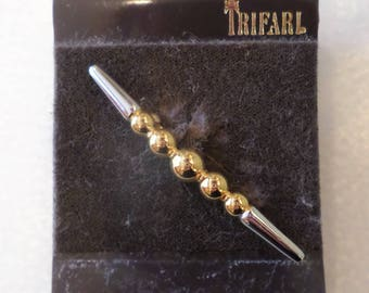 Trifari Tagged, Vintage, New Gold and Silver Tones Modernist Brooch.