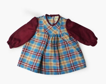70s New Old Stock Check Dress British Made 6-9 Months