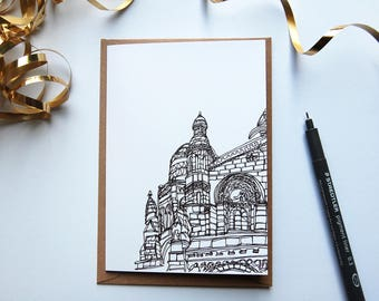 Paris Print, Card, Sacre Coeur, Continuous Line, Architecture, Building, Sacred Heart of Paris, France, Greeting card, Blank card
