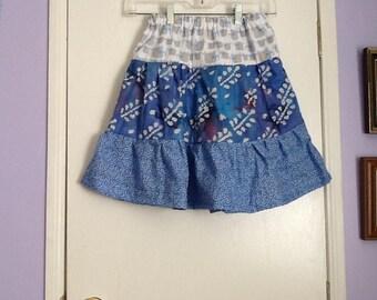 Handmade girls size 10 blue tiered skirt