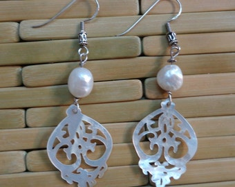Boho Shell Chandeliers with White Baroque Pearls