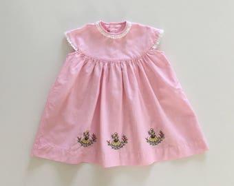 Vintage 60's, new baby in pink cotton structured dress Plaid 12-18 months, unique piece