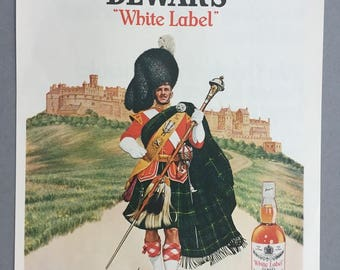 "1967 Lot of 2 Dewar's White Label Scotch Whisky Print Ads - ""Dewar's Highlander in front of famed Edinburgh Castle"""