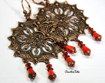 Rustic Copper Filigree Chandelier Earrings with Coral Red Czech Glass Bead Dangles & Red Swarovski Crystals