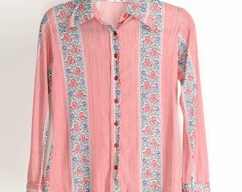 Vintage 70s Strawberry Fields Slinky Jane Birkin Button Down Blouse Small Kawaii Rustic Studio 54 Top