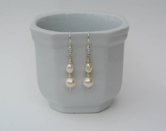 Sterling Silver Pearl Drop Earrings - Ivory White Freshwater Pearl and Sterling Silver Drop Earrings