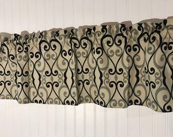 Tan with black and gray scroll  Print curtain Valance
