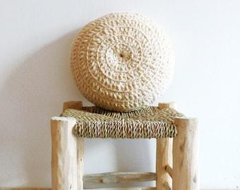 Round Pillow Crochet Wool - Natural undyed
