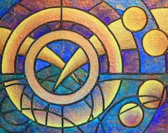 Sacred Space - metallic photographic print : geometric sky, steampunk horizon, perpetual twilight