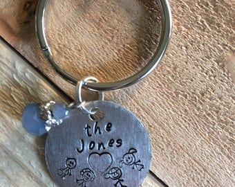 Personalized Key Chain, Gift for Dad, Gift for Mom, Hand-Stamped Metal Key Ring