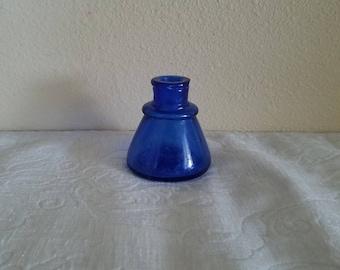 Vintage Late 1800s Antique Sandfords Cobalt Blue Glass Ink Well, Cobalt Blue Ink Bottle, Sanfords Ink Bottle, Antique Ink Well / Bottle