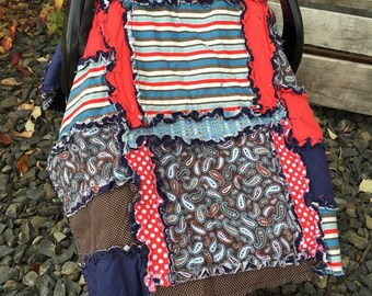 Boy Carseat Cover - Red / Gray / Brown / Navy Blue Car Seat Canopy Boy - Baby Car Seat Canopy - Car Seat Accessories Adventure Nursery