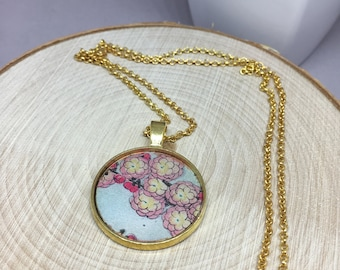 """Mixed media cherry blossoms pendant on 18"""" gold plated chain"""