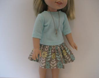 14.5 Inch Doll Clothes -  Aqua and Gray Skirt Outfit made to fit dolls such as Hearts 4 Heats and Wellie Wishers dolls