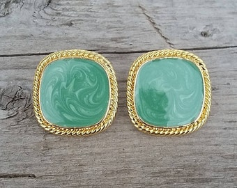 Vintage 80's Enamel and Gold Post Earrings-Green Enamel Earring-Gold Earring-Turquoise Earring-Free Shipping