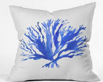 Sea Coral in Cobalt Throw Pillow