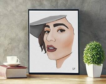 Lady Gaga, Gaga, Art, Drawing, Illustration, Digital Art, Wall Art, 8x10, 11x14, 16x20, Poster size, Music, Icon, Celebrity