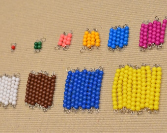Montessori short bead chains / Prep for multiplication /  skip counting practice / Free shipping / Math Materials