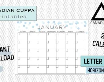 Printable PDF Blank Calendar- 12 months - Sunday to Saturday- Blue Confetti