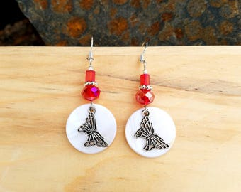Red Butterfly Shell Earrings, Red Shell Butterfly Sterling Silver Earrings, Red Butterfly Sterling Earrings, Red Butterfly Silver Earrings