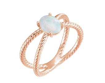 Beautiful Genuine Opal & 10k Gold Ring Size 6 7 8 Grade AA Double Rope Ring Oval Opal Trending Gift October Birthstone Opal Ring Double Ring