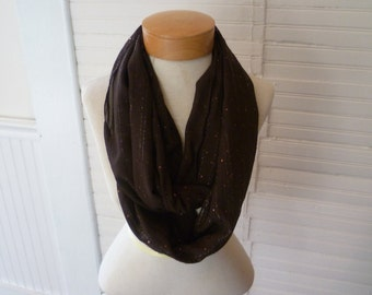 Chiffon lightweight Infinity Scarf chocolate brown with sparkles