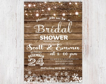 Winter bridal shower invitations etsy winter bridal shower invitation bridal shower invitationidal shower rustic bridal shower invitation filmwisefo Choice Image