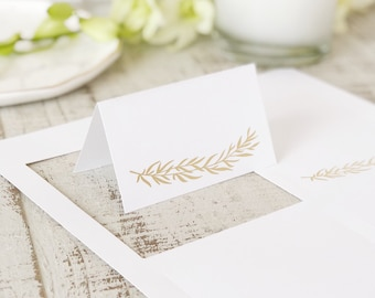 Greenery Foil Place Cards, Printable Card Stock for Place Cards & Escort Cards | REAL GOLD FOIL | 5 sheets