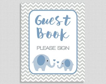 Please Sign The Guest Book Baby Shower Sign, Blue Elephant Baby Shower Table Sign, Grey Chevron, Baby Boy, INSTANT PRINTABLE