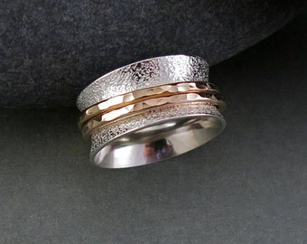 Sand Print Spinning/Meditation Ring in Sterling Silver and 14K Gold Fill