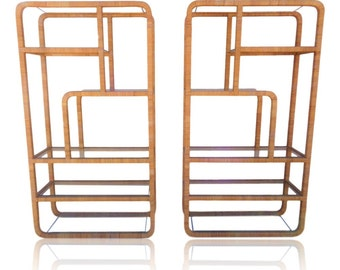 RESERVED for Jill:  VVH Vintage Pair Rattan Wrapped Etageres in Franco Albini or Milo Baughman Style Mid Century Modern Wall Unit Shelving