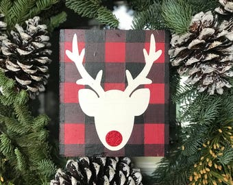 Rudolph the red nose reindeer, buffalo plaid, shiny nose, christmas sign, farmhoise sign