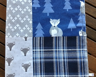 Baby Blanket, boy, Cot/Pram/Nursery, Woodland/Foxes, Chevron crosses, Checkered, blue/grey, handmade