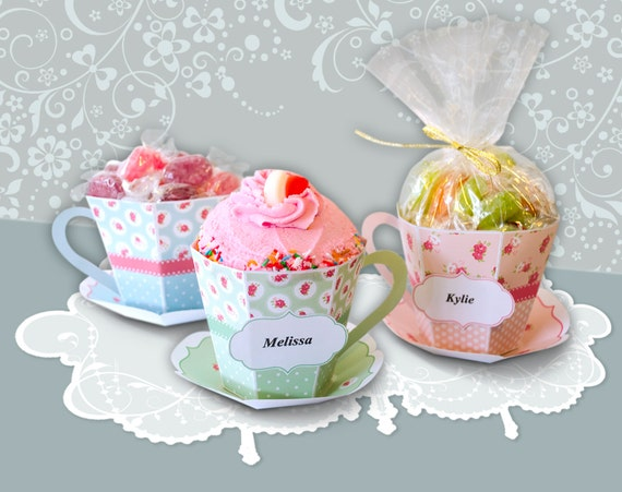 Tea Cup Shabby Chic Gift Box Personalize Personalise Paper