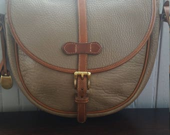 """Vintage Dooney & Bourke 1988 All Weather Leather Small """"Overland"""" Shoulder Bag in Taupe FREE SHIPPING!!"""
