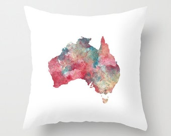 Australia Pillow Cover, Throw Pillow, Cushion Cover, Watercolor print, Home Decor, Gifts for the traveler,