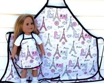 Matching Aprons for 18 Inch Doll and Her Girl, Eiffel Tower, Paris Aprons, 18 Inch Doll Accessory