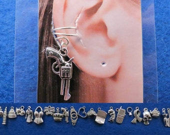 Sherlock simple ear cuff with the charm of your choice.