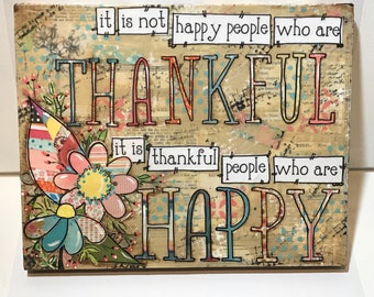 Thankful Sign, Happy People sign, Home Decor, Spring Flowers, Spring Decor