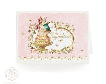 Congratulations, romantic couple, cake card, Marie Antoinette vintage style