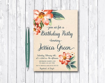 Floral Birthday Invitation Printable, Adult Birthday Invitation, Women Birthday Invitation, Peach Spring Summer Birthday Party Invitation
