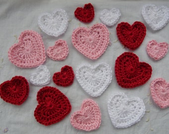 Handmade Crochet Hearts, Valentine Hearts, Red Hearts, Pink Hearts, White Hearts, Decorative Hearts, Set of Crochet Hearts, Heart Decoration