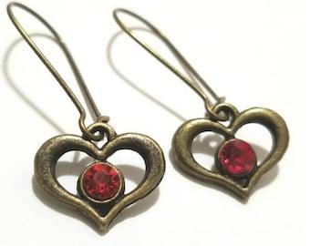 Heart Antique Bronze Pendant Earrings with Kidney EarWire,Love, vintage