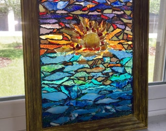 Sunset Beach:  wall hanging, stained glass window, glass mosaic, sunrise, waves, water, coastal sunset, stain glass panel